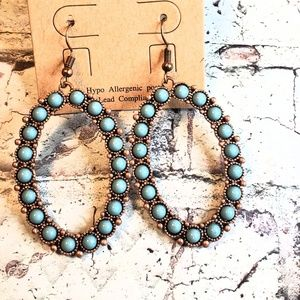Copper faux turquoise squash blossom hoop earrings